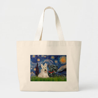Scottish Terriers (two-BW) - Starry Night Large Tote Bag