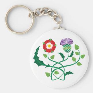Scottish Thistle and English Rose Key Chain