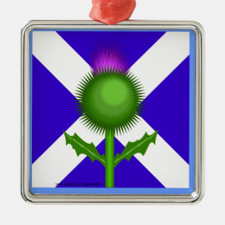 Scottish Thistle and Flag Metal Ornament