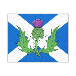 Scottish Thistle and Saltire Canvas Print