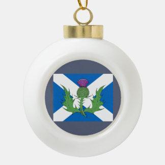 Scottish Thistle and Saltire Ceramic Ball Christmas Ornament
