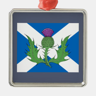 Scottish Thistle and Saltire Metal Ornament