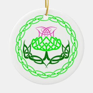 Scottish Thistle Celtic Knot Ceramic Ornament