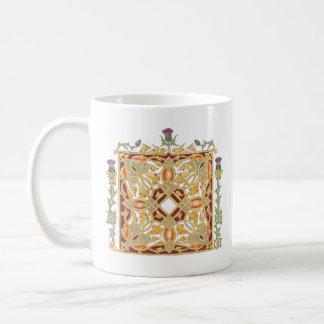 Scottish thistle Celtic knot golden vines Coffee Mug