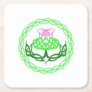 Scottish Thistle Celtic Knot Square Paper Coaster