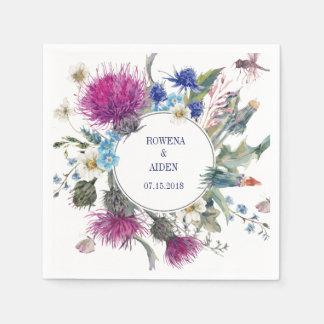 Scottish Thistle Floral Wedding Paper Napkins Disposable Serviette