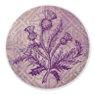 Scottish Thistle Purple Celtic Knot Ceramic Knob