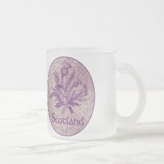 Scottish Thistle Purple Celtic Knot Frosted Glass Mug