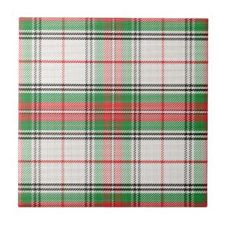 Scottish White, Red & Green Plaid Tartan Ceramic Tile