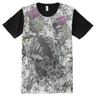 Scottish Wildcat Thistle Art All-Over Print T-Shirt