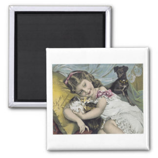 Scott's Emulsion Girl with Cats and Dog Square Magnet