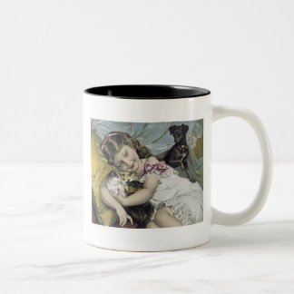 Scott's Emulsion Girl with Cats and Dog Mug