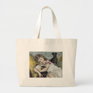 Scott's Emulsion Girl with Cats and Dog Tote Bags