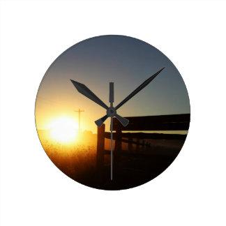 Scottsbluff Nebraska Farming Harvest Fall Sunset Round Clock