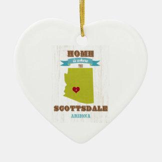 Scottsdale, Arizona Map – Home Is Where The Heart Christmas Tree Ornament