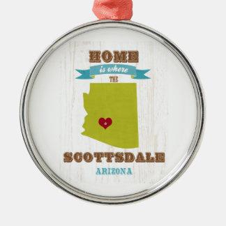 Scottsdale, Arizona Map – Home Is Where The Heart Metal Ornament