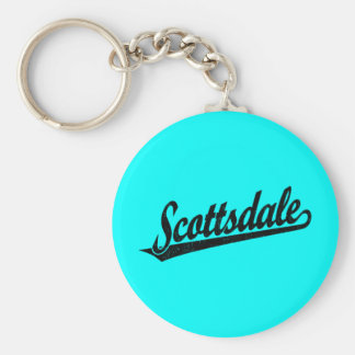 Scottsdale script logo in black distressed basic round button key ring
