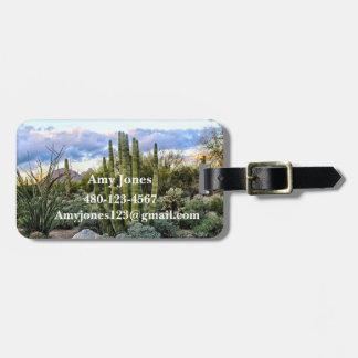 Scottsdale succulent Sunset Luggage Tag