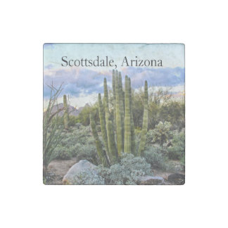 Scottsdale Succulent Sunset text Stone Magnet