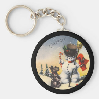 "Scotty and Snowman say ""cheerio!"" Key Ring"