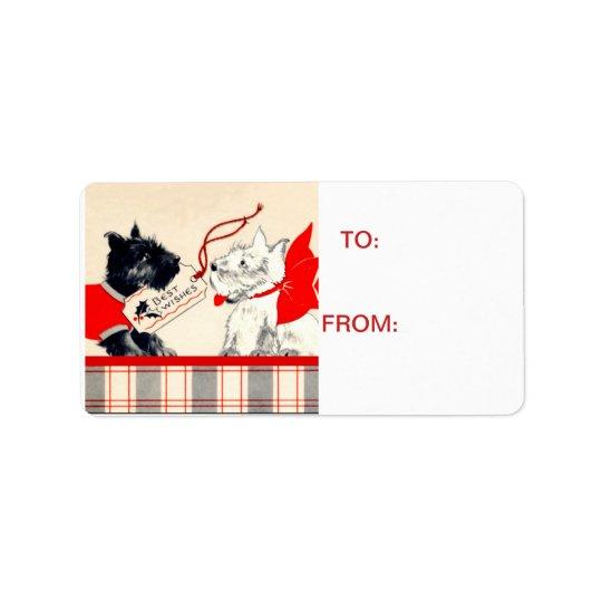Scotty Dog Scottish Terrier Black and White Tag Address Label