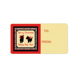 Scotty Dog Scottish Terrier Christmas gift Tag Address Label