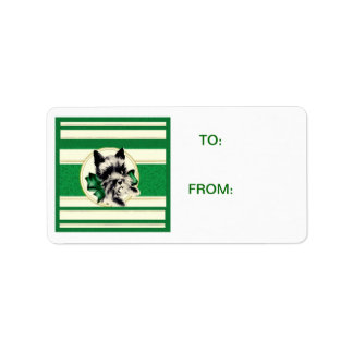 Scotty Dog Scottish Terrier green stripes Tag Address Label