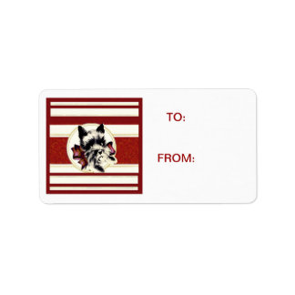 Scotty Dog Scottish Terrier red stripes Tag Address Label