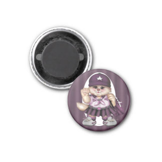 SCOUT CAT GIRL LOVE Round Magnet small