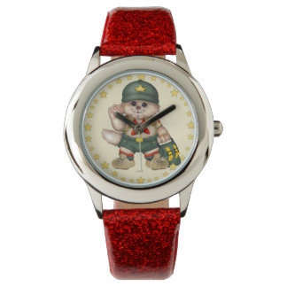 SCOUT CAT Kid's Red Glitter Strap Watch