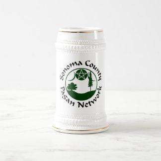 SCPN Circle Logo - White & Silver Beer Stein - 2G 18 Oz Beer Stein