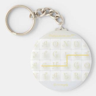 scrabble christ basic round button key ring