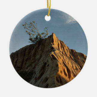 Scraggly Torrey Pine at Sunset California Coast Ceramic Ornament