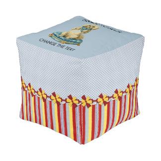 Scrap Book Style Cube Pouffe