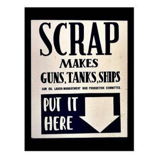 Scrap Makes Guns, Tanks, Ships Post Cards