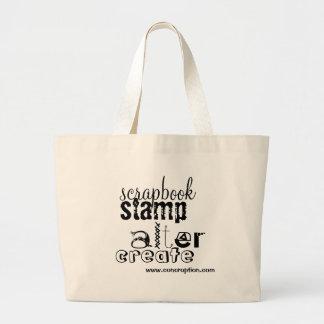 scrapbook, stamp, alter, create, www.concroptio... jumbo tote bag