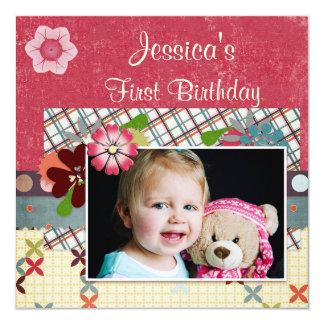 Scrapbook Style Girls' 1st Birthday Photo 13 Cm X 13 Cm Square Invitation Card