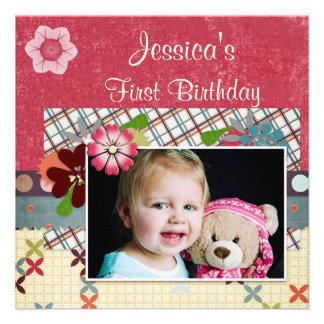Scrapbook Style Girls 1st Birthday Photo Personalized Invitation