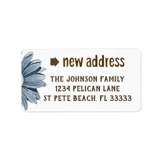 Scrapbooking Style Blue Daisy New Address Label