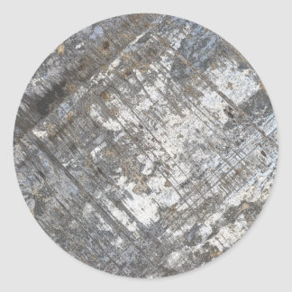 Scraped Chrome Grunge Classic Round Sticker