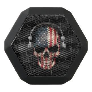 Scratched American Dj Skull with Headphones Black Boombot Rex Bluetooth Speaker