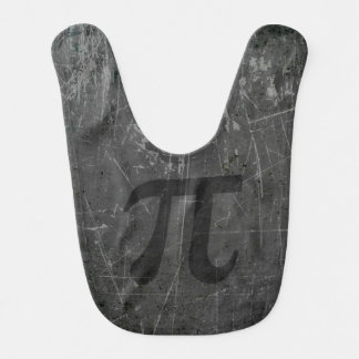 Scratched and Aged Black and Gray Pi Math Symbol Baby Bibs