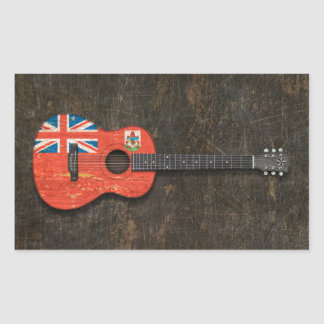 Scratched and Worn Bermuda Flag Acoustic Guitar Rectangle Stickers