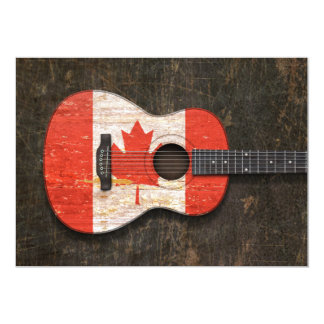 Scratched and Worn Canadian Flag Acoustic Guitar Announcements
