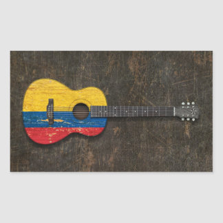 Scratched and Worn Colombian Flag Acoustic Guitar Rectangle Stickers