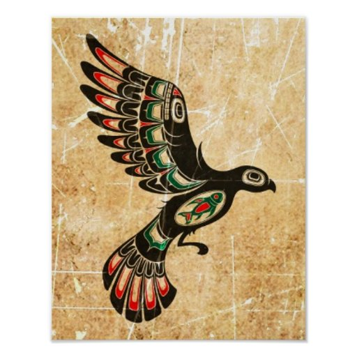 Scratched and Worn Flying Haida Spirit Bird Poster