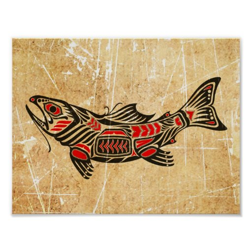 Scratched and Worn Haida Spirit Fish on Black Posters