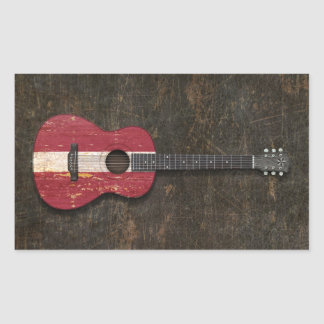 Scratched and Worn Latvian Flag Acoustic Guitar Rectangle Sticker