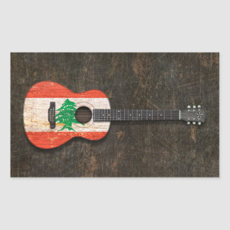 Scratched and Worn Lebanese Flag Acoustic Guitar Rectangle Stickers
