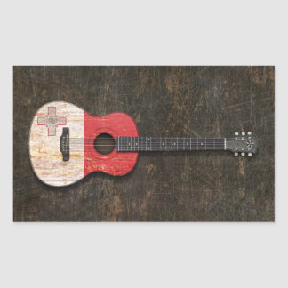 Scratched and Worn Maltese Flag Acoustic Guitar Rectangle Sticker